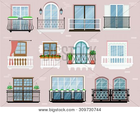 Balcony Vector Vintage Balconied Railing Windows Facade Wall Of Building Illustration Set Of Beautif