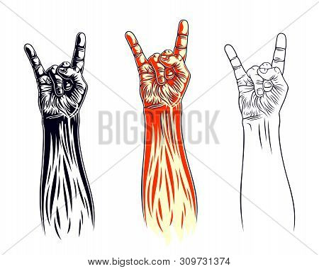 Rock Hand Sign Set, Music Rock And Roll Gesture In Flames, Hard Rock Festival Concert Or Club, Vecto