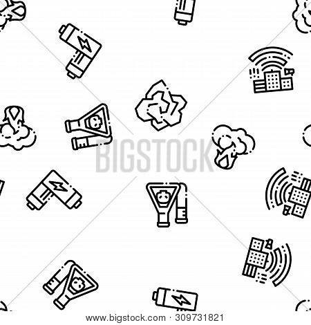 Pollution of Nature Vector Seamless Pattern. Environmental Pollution, Chemical, Radiological Contamination Linear Pictograms. Gas, CO2 Emissions, Dirty Soil, Water, Air Color Contour Illustrations poster