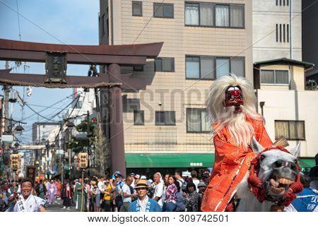 Osaka, Japan - July 25 2018 : Tenjin Festival Of Osaka With Thousand Of Attendant And Spectator. The