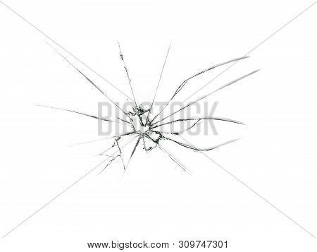 Broken Glass. A Split In A Transparent Window. Illustration Of The Crack. Glass Cracks On A White Ba