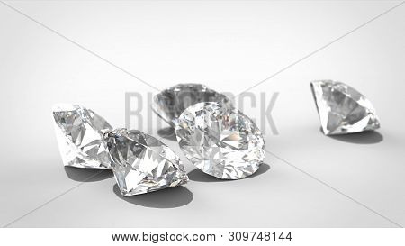 Luxury Diamonds On Whte Backgrounds. Selective Focus. 3d Rendering Model