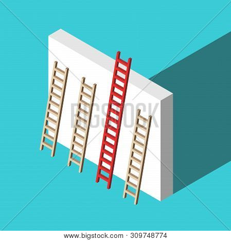 Isometric Red Unique Ladder Set Against Wall On Turquoise Blue Background. Uniqueness, Achievement A
