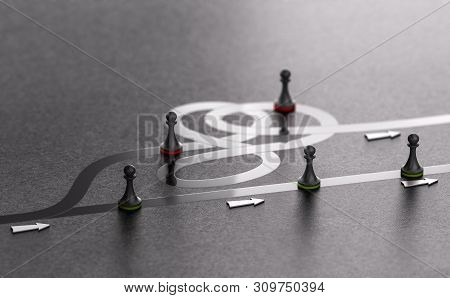3d Illustration Of Green Pawns Choosing The Best Way Forward Instead Of The Worst One. Right Path Co