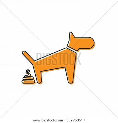 Orange Dog Pooping Icon Isolated On White Background. Dog Goes To The Toilet. Dog Defecates. The Con