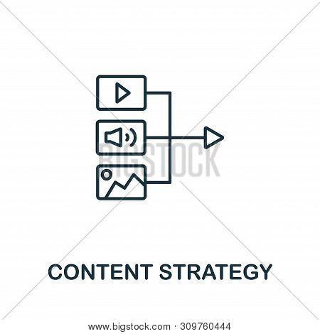 Content Strategy Outline Icon. Thin Line Concept Element From Content Icons Collection. Creative Con