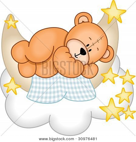 Image representing a sweet dreams teddy bear, sleeping on the moon, isolated on white, vector design. poster