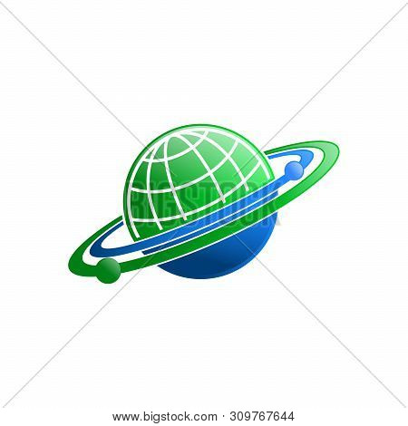 Vector Planet Logo. Satellite Design Template. Planet Logo. Satellite Logo. Cosmos Logo. Planet Best