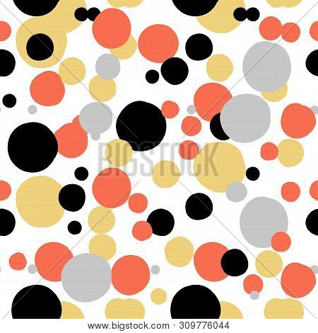 Ditsy Vector Polka Dot Pattern With Random Hand Painted Circles In White, Black, Coral Red, Silver,