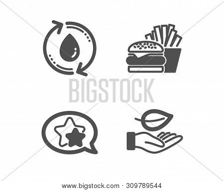 Set Of Refill Water, Burger And Star Icons. Leaf Sign. Recycle Aqua, Cheeseburger, Favorite. Plant C