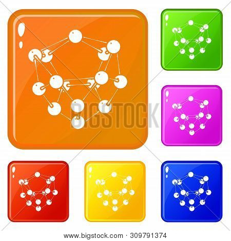 Glucose Icons Set Collection Vector 6 Color Isolated On White Background
