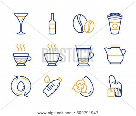 Double Latte, Takeaway Coffee And Coffee Beans Icons Simple Set. Wine, Espresso And Refill Water Sig