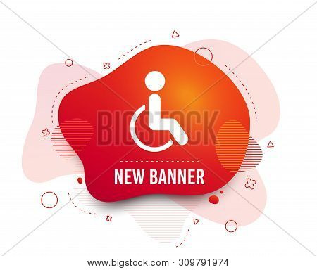Fluid Badge. Disabled Sign Icon. Human On Wheelchair Symbol. Handicapped Invalid Sign. Abstract Shap