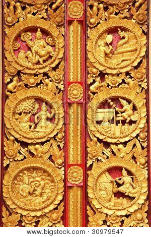 Texture of door in Thai temple