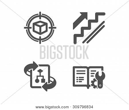 Set Of Stairs, Parcel Tracking And Technical Algorithm Icons. Engineering Documentation Sign. Stairw