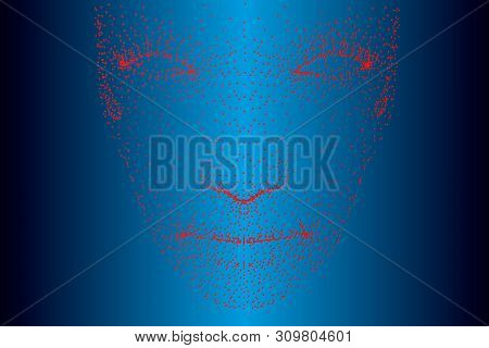 Projection Of The Face Of A Person Consisting Of Red Dots. Front View. Vector Illustration