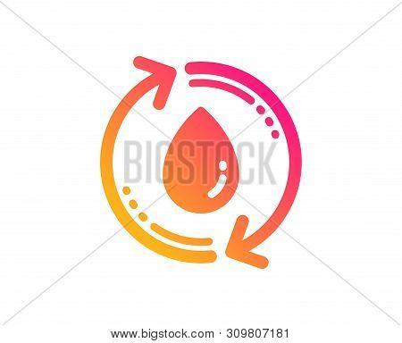 Water Drop Icon. Recycle Clean Aqua Sign. Refill Liquid Symbol. Classic Flat Style. Gradient Refill