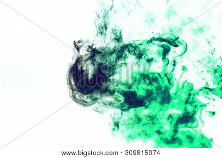 Colored background with winding clouds of smoke from patterns of different forms of red, green colors with tongues of flame on a white isolated background as ink or poison poster