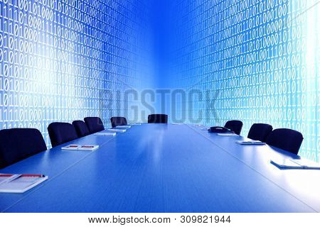 close up empty virtual meeting room with meeting table over binary codes of one and zero