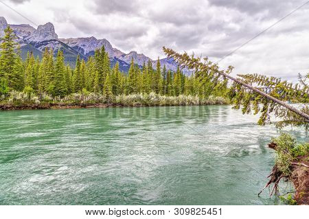 Canmore's Bow River Loop Trail With Mount Rundle In Background