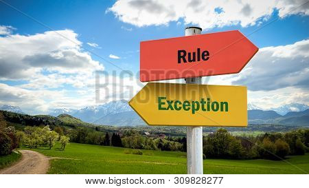 Street Sign the Direction Way to Exception versus Rule poster