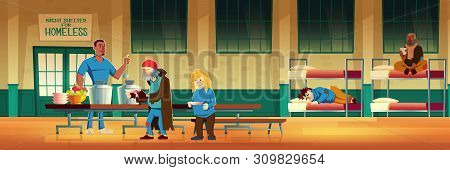 Night shelter for homeless, emergency housing, temporary residence for people, bums and beggars without home. Poor men and woman lying on bed, eating and drinking warm food Cartoon vector illustration poster