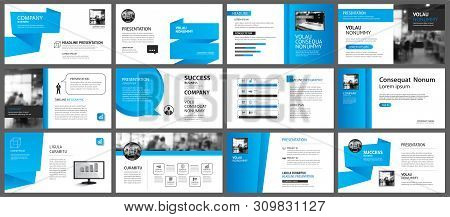 Presentation And Slide Layout Template. Design Blue Gradient In Paper Shape Background. Use For Busi