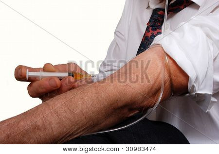 Businessman Injecting Drugs