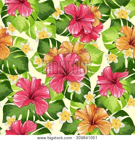Hawaiian Hibiscus Fragrance Flower And Monstera Leaves Vector Seamless Pattern. Mallow Chinese Rose