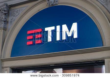 Turin, Italy - June 1, 2019: Logo And Sign Of Tim S.p.a. Telecom Italia Is An Italian Telecommunicat
