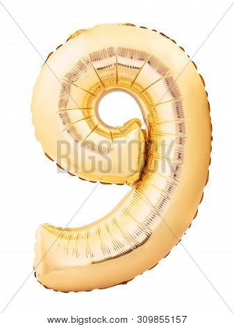 Number 9 Nine Made Of Golden Inflatable Balloon Isolated On White Background. Helium Balloon Nine 9