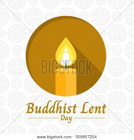 Buddhist Lent Day Banner With Yellow Candle Light And Buddha Sign In Circle On White Lotus Texture B