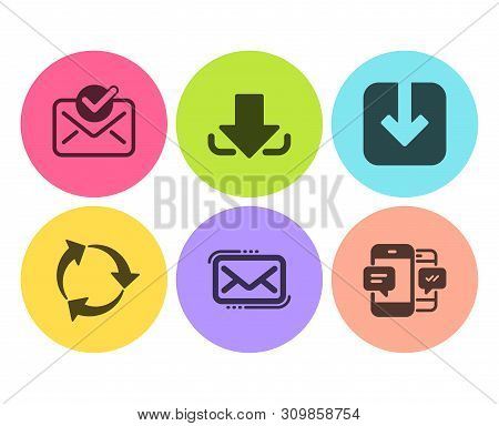 Load Document, Messenger Mail And Recycle Icons Simple Set. Approved Mail, Download And Smartphone S