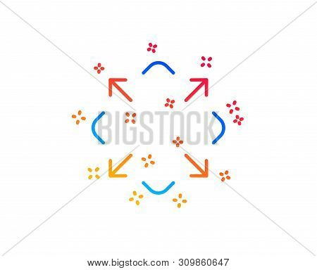 Maximize Arrow Line Icon. Full Screen Symbol. Maximise Navigation Sign. Gradient Design Elements. Li