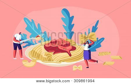 Male And Female Characters Eating Spaghetti Pasta With Tasty Sauce From Huge Plate, With Dry Macaron