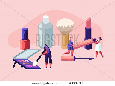 Women Spend Time In Beautician Parlor. Female Characters Testing Skin Care Products In Beauty Salon.