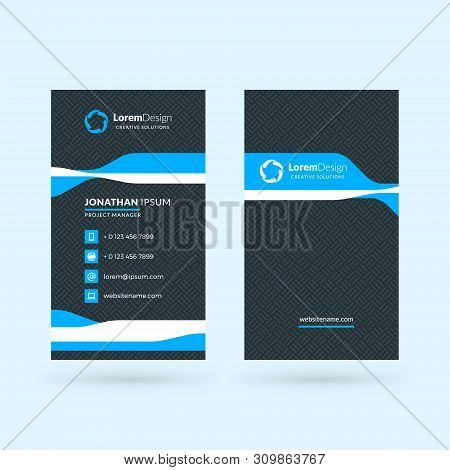 Vertical Double-sided Black And Blue Modern Business Card Template. Vector Illustration. Stationery