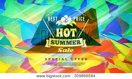Summer Sale Template Banner. Abstract Colorful Retro Background. Special Offer. Hot Summer Sale