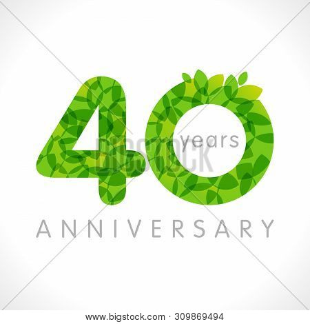 40 Th Anniversary Numbers. 40 Years Old Logotype. Age Congrats, Congratulation Idea With Leaves. Iso