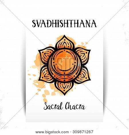 Second Chakra Illustration Vector Of Svadhishthana.the Second Chakra. Esoteric Symbol Of The Center