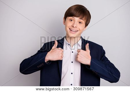 Portrait Of Nice Charming Funny Funky Kid Student Alright Knowledge Laugh Feel Positive Cheerful Con