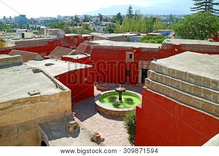 Monastery Courtyard And Cityscape Of Arequipa View From Rooftop Terrace Of Santa Catalina Monastery,