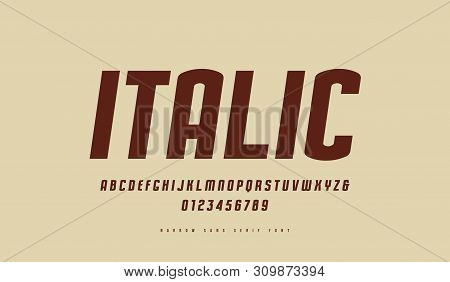 Stock Vector Italic Narrow Sans Serif Font. Letters And Numbers For Logo And Label Design In Retro S
