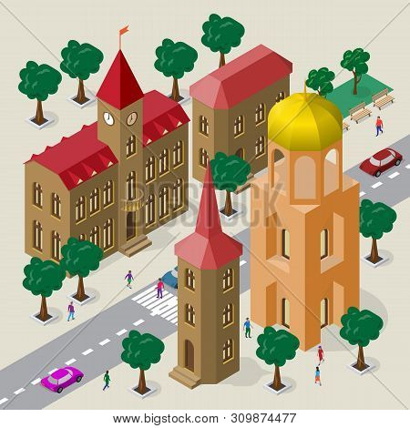 Vector Cityscape In European Architectural Style. Set Of Isometric Buildings, City Hall, Church, Roa
