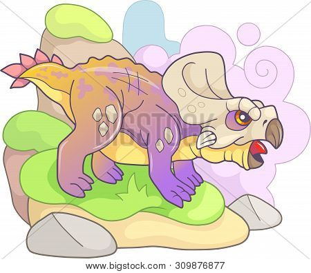 Cartoon Cute Prehistoric Dinosaur Protoceratops, Funny Illustration