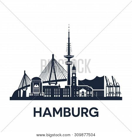 Hamburg City Skyline, Germany, Extended Version, Solid Color