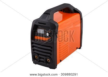 The Invertor Welding Machine For Mma Type Welding. Orange Color Isolated On White Background