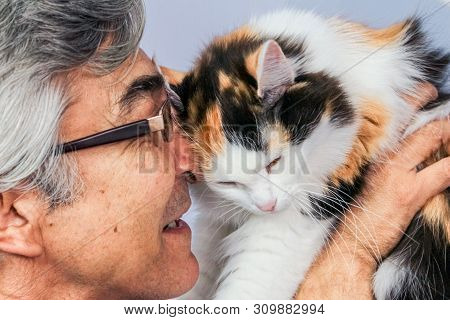 Happy Adult Man With Spectacles Holding A Calico Cat Near His Face. Love Concept.