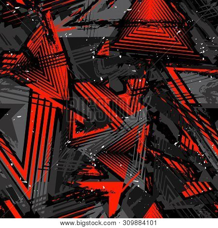 Abstract Seamless Grunge Pattern. Urban Art Texture With Neon Lines, Triangles, Chaotic Brush Stroke
