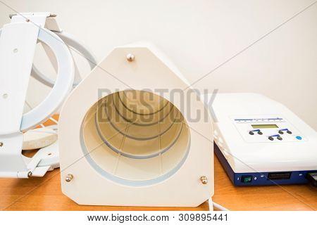 MRI machine for magnetic resonance imaging in hospital radiology poster